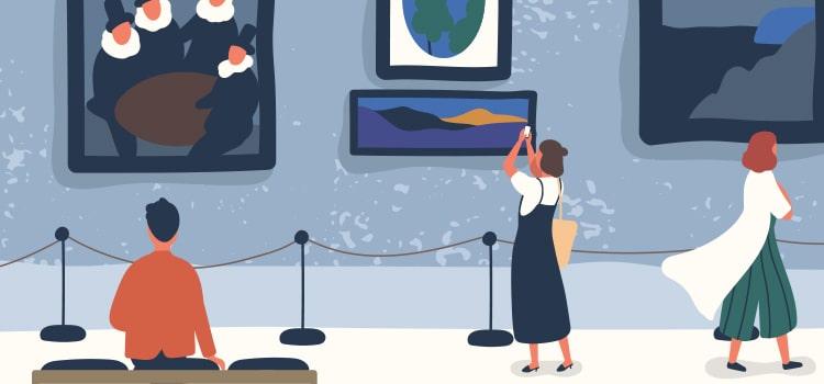 ギャラリーを見て回る客のイラスト画像